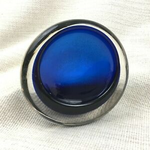 Vintage Art Glass Bowl Cobalt Blue Clear Mid Century Modern Studio 60s 70s