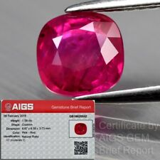 AIGS Rare! Certified 1.58ct 6.5mm Cushion Natural Red Ruby - Heated No Glass