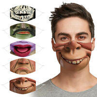 HOT 3D Printed Funny Face Mask Breathable Washable Mouth Protection Reusable