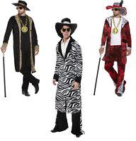 ADULT MENS 70S PIMP GANGSTER BIG DADDY WITH DOLLAR MEDALLION FANCY DRESS
