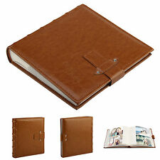 "6x4""Leather Photo Album Applicable To 200 Brown Vintage Photos Memo Book"