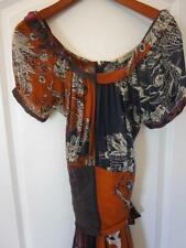 ETRO Navy Rust Magenta & Gray Silk Blouson Style Dress Sz 44 IT 8 US Rt $1,625