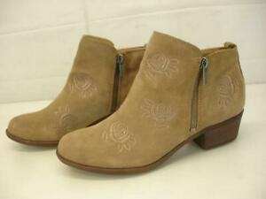 Women's 9 M Lucky Brand Basel5 Side-Zip Ankle Boots Sesame Tan Suede Embroidered