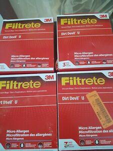 12 Filtrete 3M Micro Allergen Vacuum Bags Fits Dirt Devil U Three Bags 65703A/Q