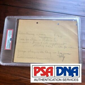 Thomas Edison * PSA/DNA Slab * Autograph Handwritten Note Signed *