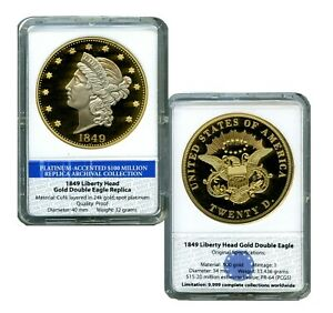 1849 LIBERTY HEAD DOUBLE EAGLE ARCHIVAL EDITION COIN PROOF VALUE $99.95