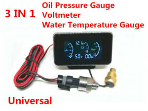 Car Truck Oil Pressure/Voltage/Water Temperature Gauge Meter 3 In 1 W/ Sensors