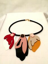 Statement Large Big Multi-Coloured Bead Wood Quirky FAUX LEATHER Chunky Necklace