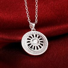 Wholesale 925 Sterling Silver Filled Circle Necklace With Clear Zircon Crystal