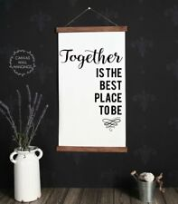 Wood Hanging Canvas Sign, Together Best Place Living Room Decor Wall Hanging