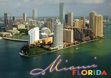 Aerial View of Miami Florida, Ocean, Buildings, Skyline, Bridge, FL --- Postcard