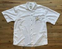 Mens Bamboo Cay Hawaiian Shirt White Embroidered Floral Bird of Paradise XL