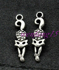 finding Tibetan silver Charms pendant lovely Playing cat 10-150pcs 33x9mm 1.4g