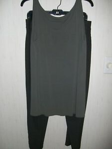 Eileen Fisher. 2 pc. Silk -Olive Green  Pants & Sleeveless Top for Ladies  M/M