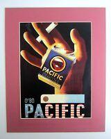 Nachlass alter Reklame Druck hinter Passepartout Pacific Zigaretten 50x40cm 146