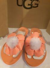 Ugg Australia Poppy Flower Flip Flop Pom Pom Coral Thongs Sandals Women's size 6