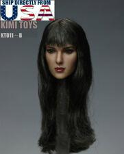1/6 Female Head Sculpt Long Black Hair KIMI KT011 B For Hot Toys Phicen U.S.A.