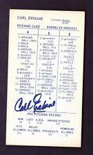 CARL ERSKINE Autograph 1960's & 1970's Strat-O-Matic Baseball Game Auto