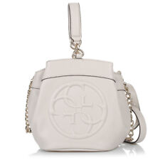 23118e3acea9 GUESS WOMENS SHOULDER BAG HANDBAG SMALL CROSSBODY FAUX LEATHER BEIGE BUCKET  478
