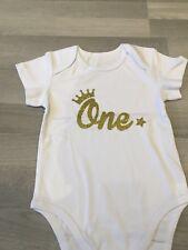 Brand New Baby Unisex Baby Grow Bodysuit Romper One Gold Glitter Star 1st 12-18