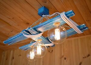 Wooden ceiling lamp made of cotton rope and steel chain, chandelier, vintage