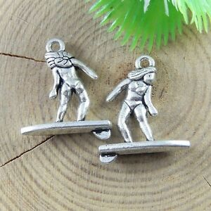 40x Vintage Silver Surfing Girl Alloy Handmade Charms Necklace Jewelry Accessory