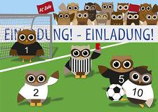 10 Postkarten Einladungskarte Kindergeburtstag  Eulen Fußball Fußballspiel Eule