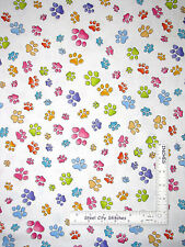 Loralie Dog Gone Puppy Dog Paw Print White Cotton Fabric Animal Pawful - Yard