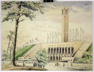"Eva Langkammer Original Colored Pencil Drawing 12"" x 9.325"" STADIUM"