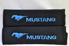 Black Seat Belt Cover Shoulder Pad Pairs Embroidery Blue Ford Mustang Pony Logo