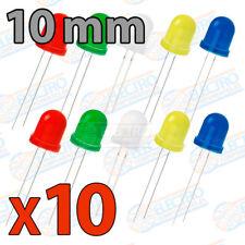 10x LED Difuso 10mm Varios colores Brillo ultrabright 20mA diodo diode