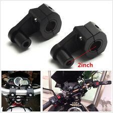 "Black Aluminum 7/8"" 22mm Motorcycle HandleBar Handle Fat Bar Mount Clamps Riser"