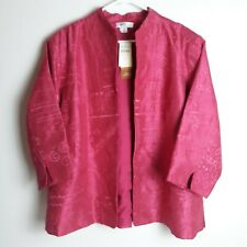 NWT Coldwater Creek 2X pink 100% silk open front embroidered jacket 3/4 sleeve