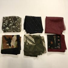 """6 Scarves Square ALL 20"""" & 21"""" Sheer Poly Express Metallic Vtg Scarf Lot"""