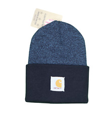 New Carhartt Spell Out Patch Acrylic Winter Beanie Hat Cap Heather Blue USA Made