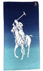 "NWT POLO RALPH LAUREN Blue Gradient Beach Towel Extra Large Pony 35""x66"""