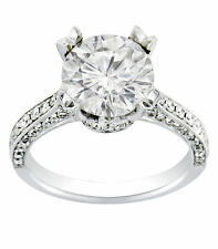 4.11ct ROUND CUT diamond engagement Ring 18k WHITE GOLD D COLOR VS2 (3.11)