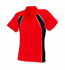 NEW Finden & Hales LV351 Womens New Coolplus® Polo Shirt Red/Black/White XL