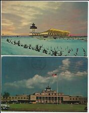 Washington's Dulles and National airports on two small 1960s color postcards