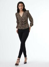 Dorothy Perkins Womens Petite Black Spot Rouched Top Blouse Elegant V-Neck