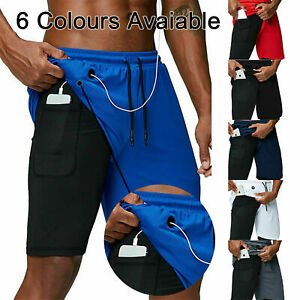 Men 2 in 1 Running Shorts Gym Workout Fitness Quickdry Phone Pocket Hole Jogging