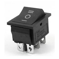New AC250V/15A 125V/20A 3Way DPDT Snap in Black Button 6Pin Rocker Switch 12V