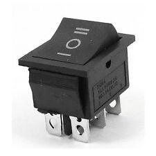 AC250V/15A 125V/20A 3Way DPDT Snap in Black Button 6Pin Rocker Switch 12V