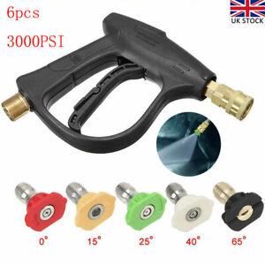 High Pressure Washer Spray Gun 3000 PSI Jet Lance Trigger Wash Water 5 Nozzles