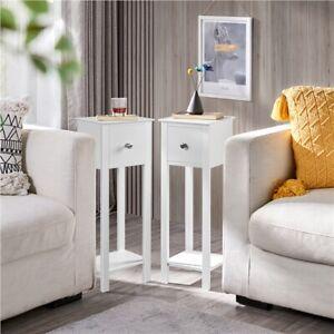 Nightstand Set of 2 Slim Bedside Tables Tall Hallway Narrow Telephone Table