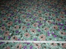GREEN WITH PEACH / PURPLE FLORAL PRINT FABRIC - 5 YARDS IN STOCK - BY THE YARD