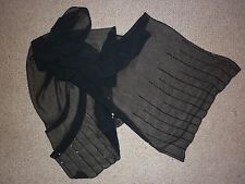 VINTAGE JET BEADED BLACK CHIFFON WRAP / SCARF IN GOOD CONDITION