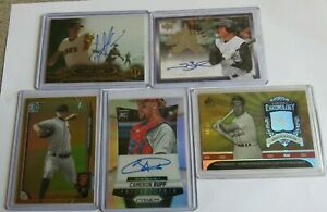 Lot of 5 MLB Auto & Serial Numbered Trading Cards - Topps, Upper Deck Etc.