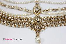 Gold Matthapatti Damini Headpiece Jhoomar Hijab Head Wedding Bridal Indian