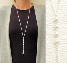 Necklace Lanyard Pearl Silver Beaded Lanyard White Pearl ID Badge Lanyard Work